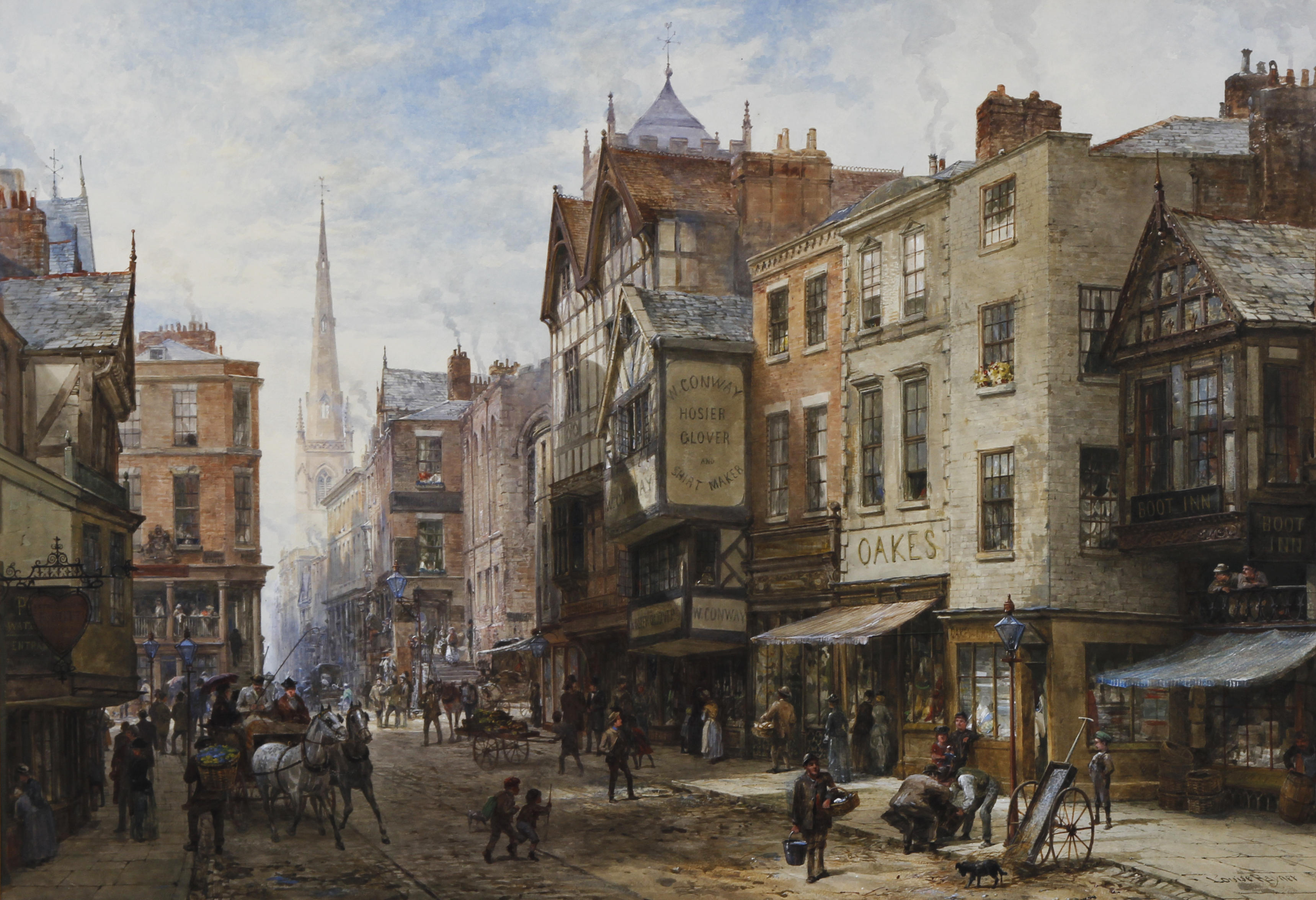 louise_rayner_chester_the_cross_looking_towards_watergate_street